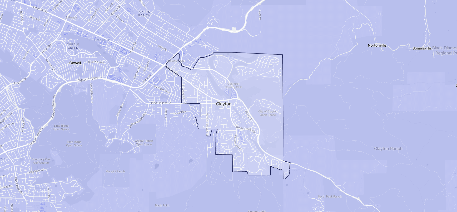 Image of Clayton boundaries on a map.