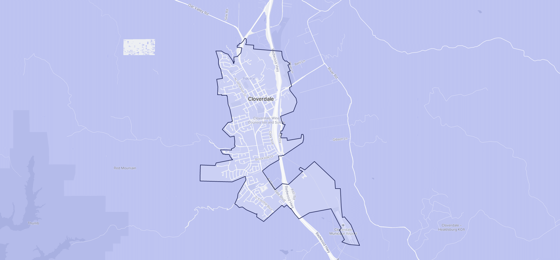 Image of Cloverdale boundaries on a map.