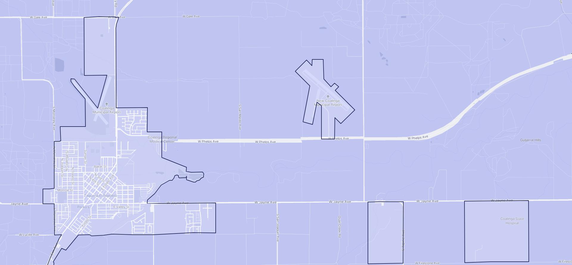 Image of Coalinga boundaries on a map.