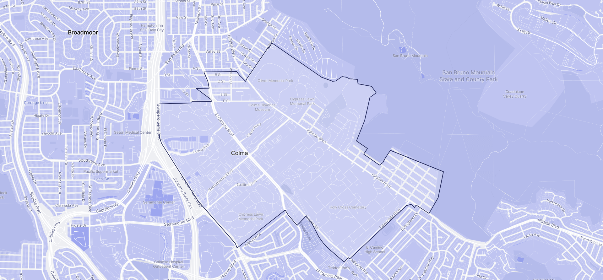 Image of Colma boundaries on a map.