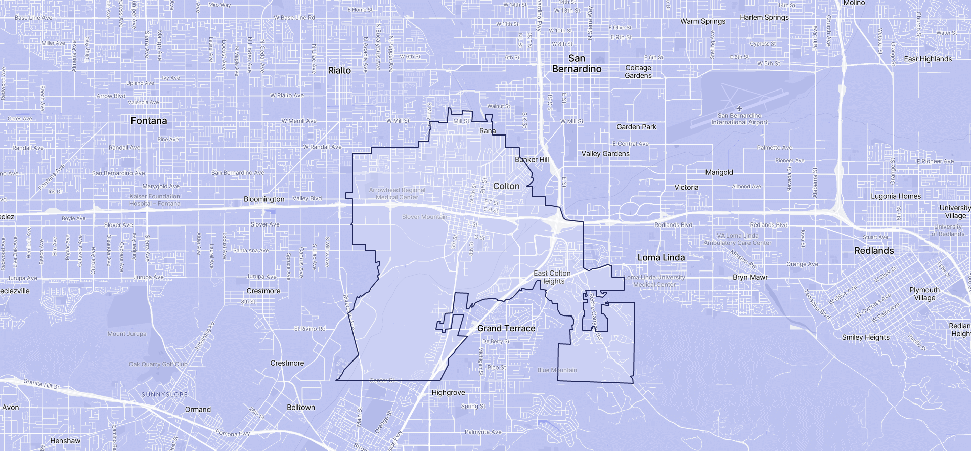 Image of Colton boundaries on a map.