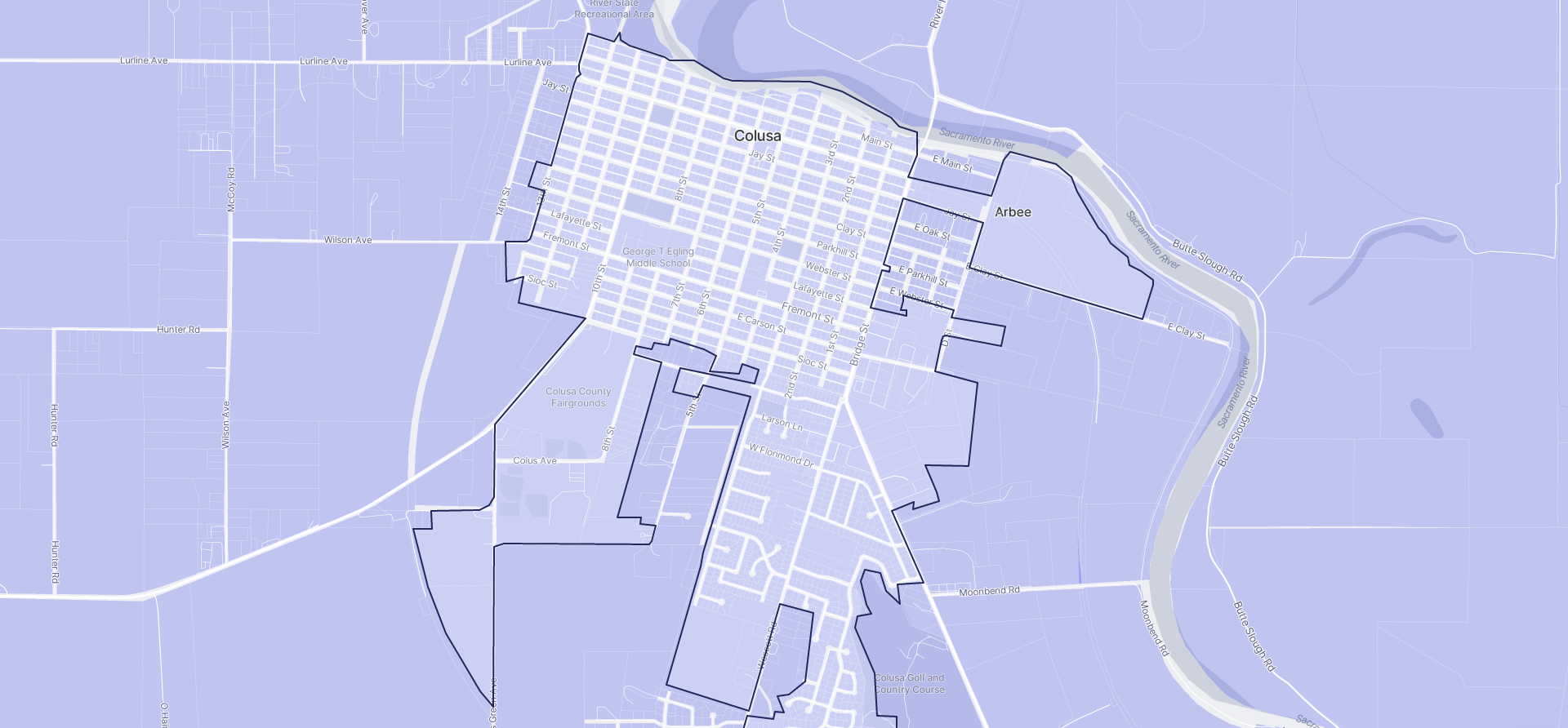 Image of Colusa boundaries on a map.