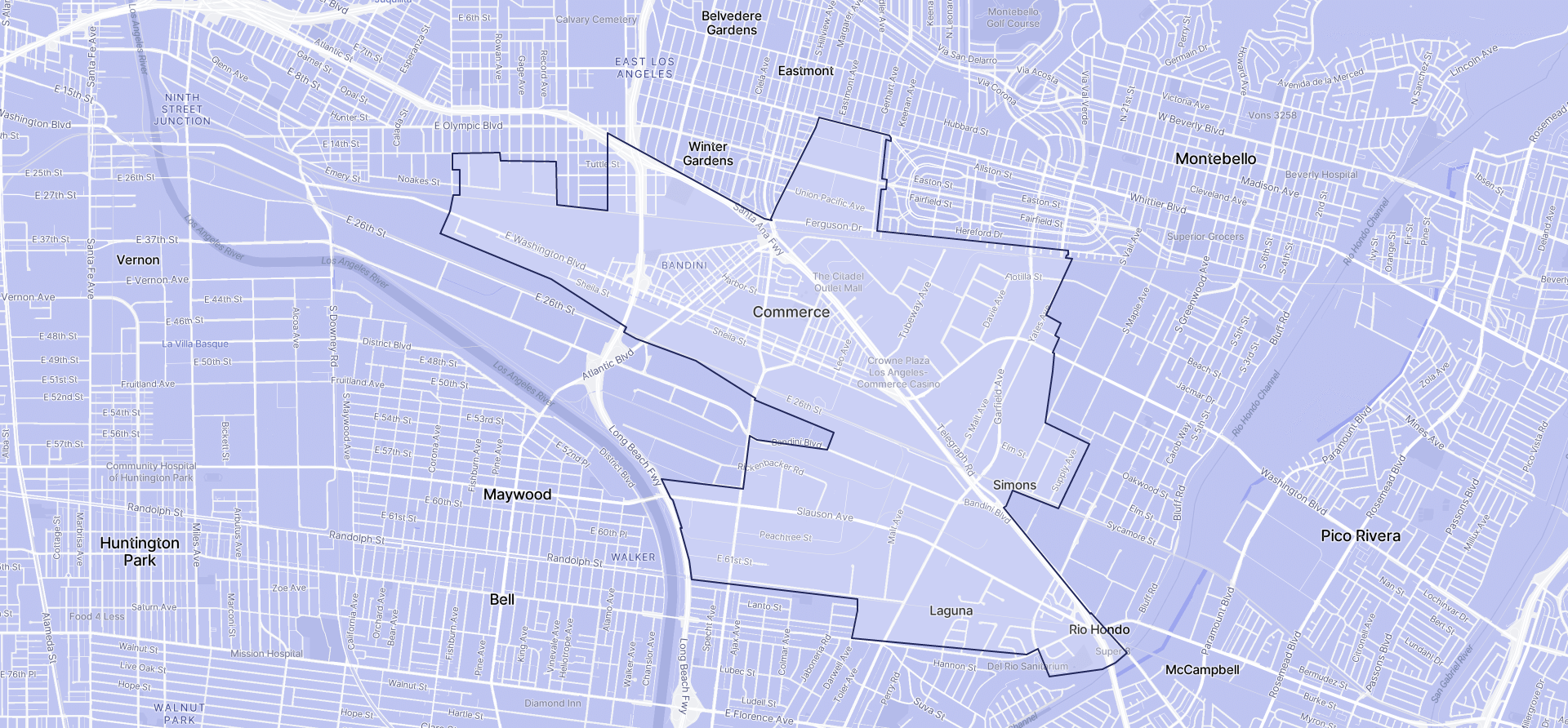 Image of Commerce boundaries on a map.