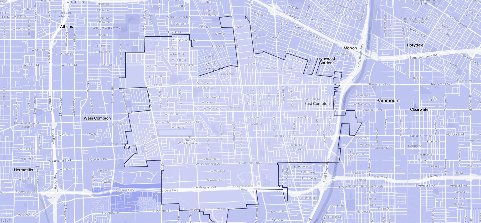 Image of Compton boundaries on a map.