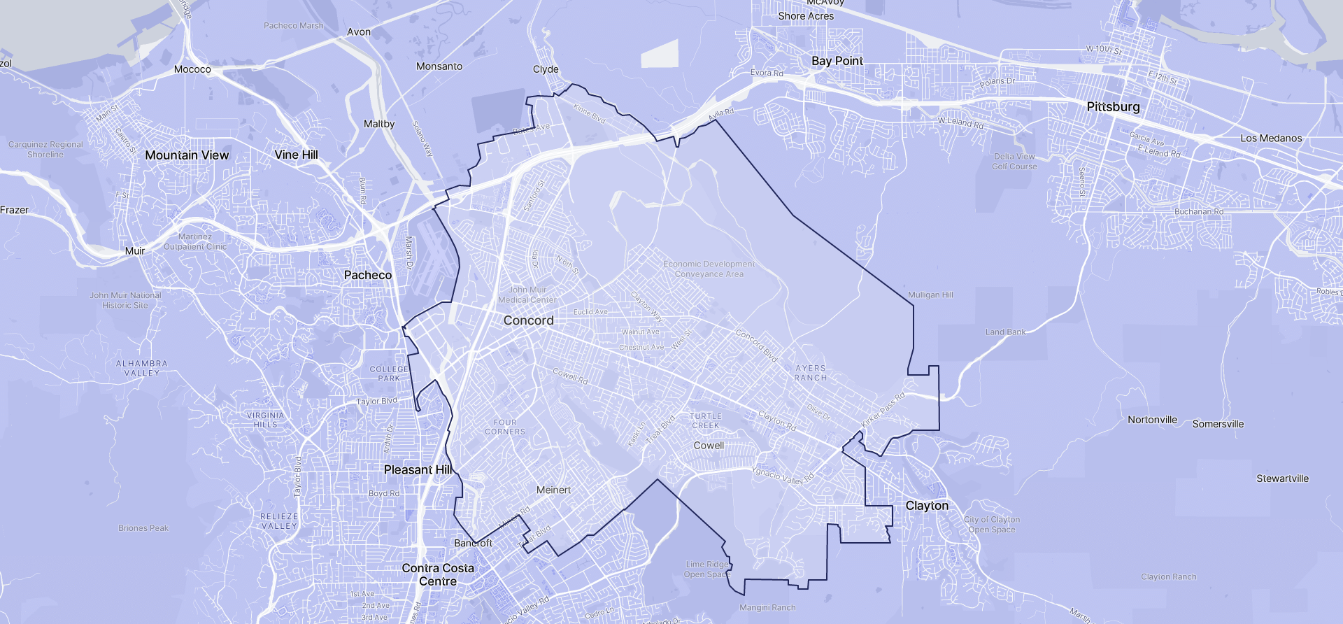 Image of Concord boundaries on a map.