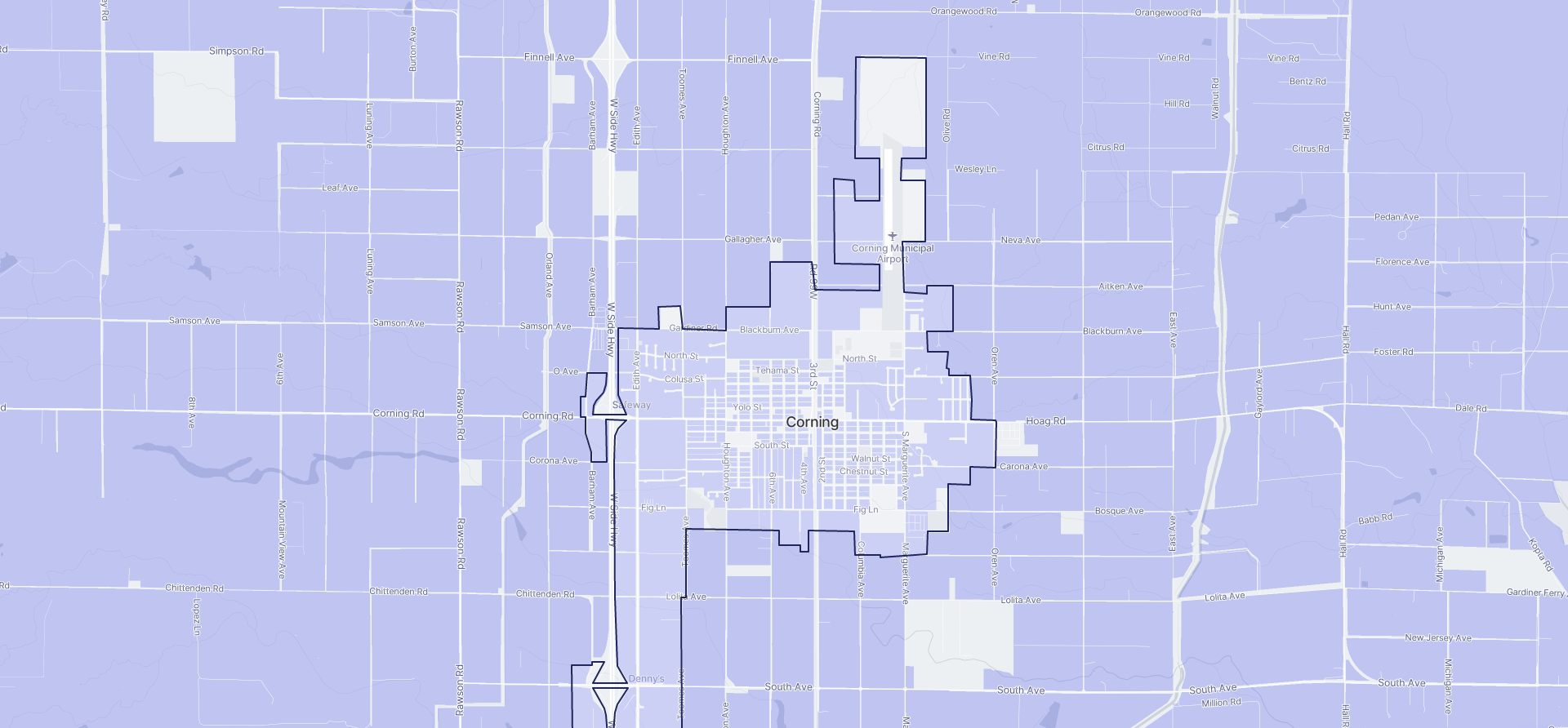 Image of Corning boundaries on a map.
