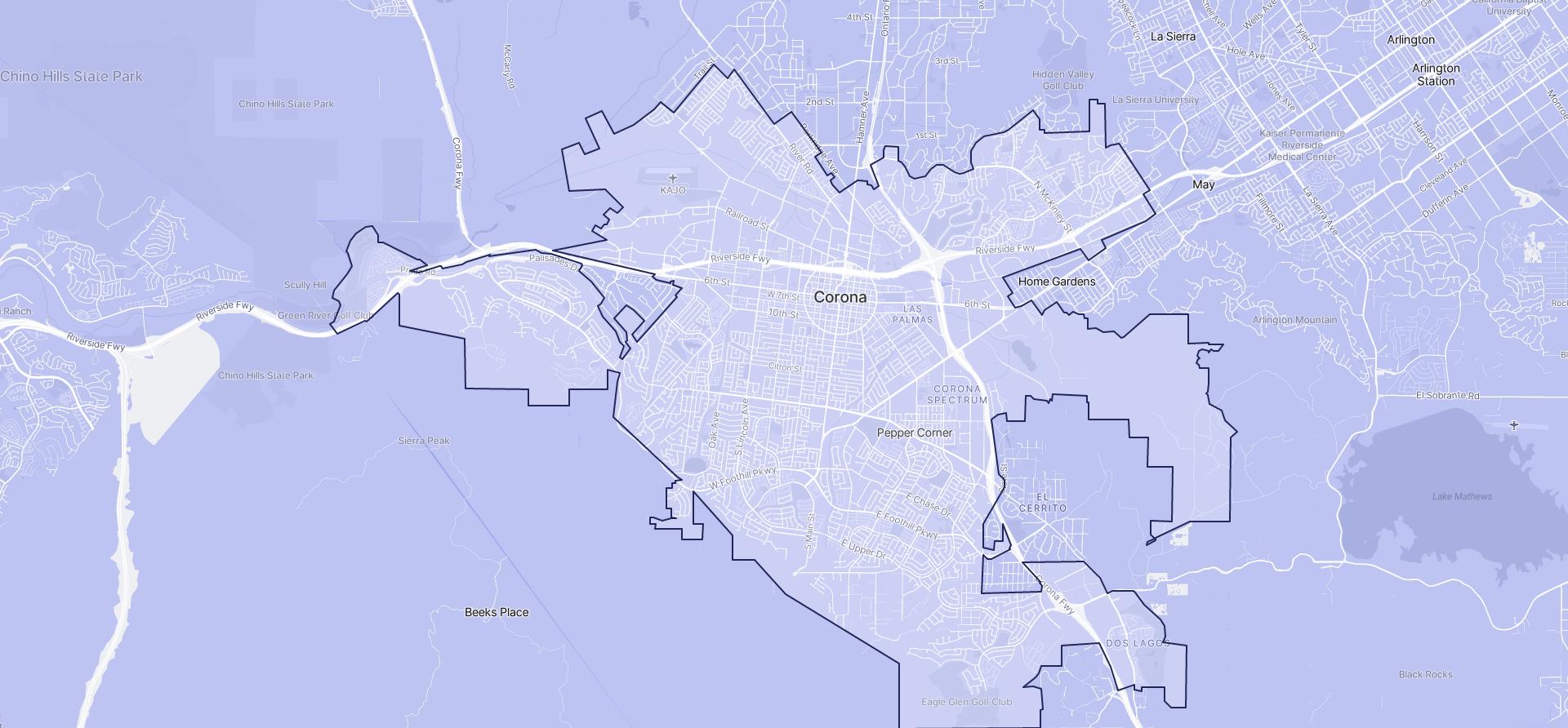 Image of Corona boundaries on a map.
