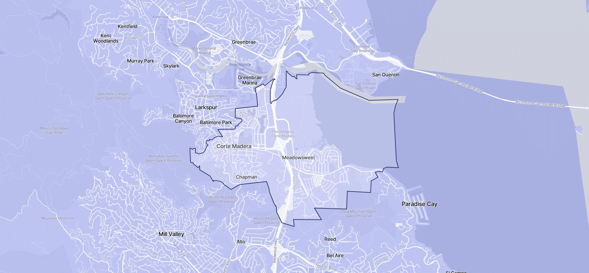 Image of Corte Madera boundaries on a map.