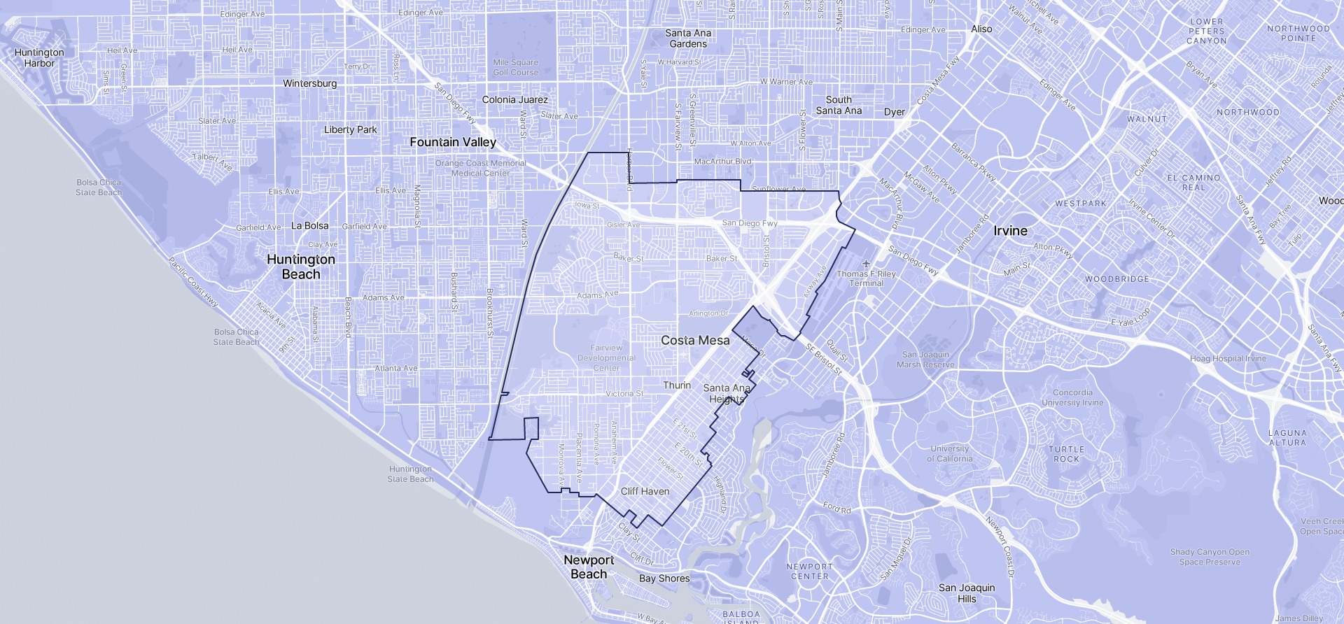 Image of Costa Mesa boundaries on a map.