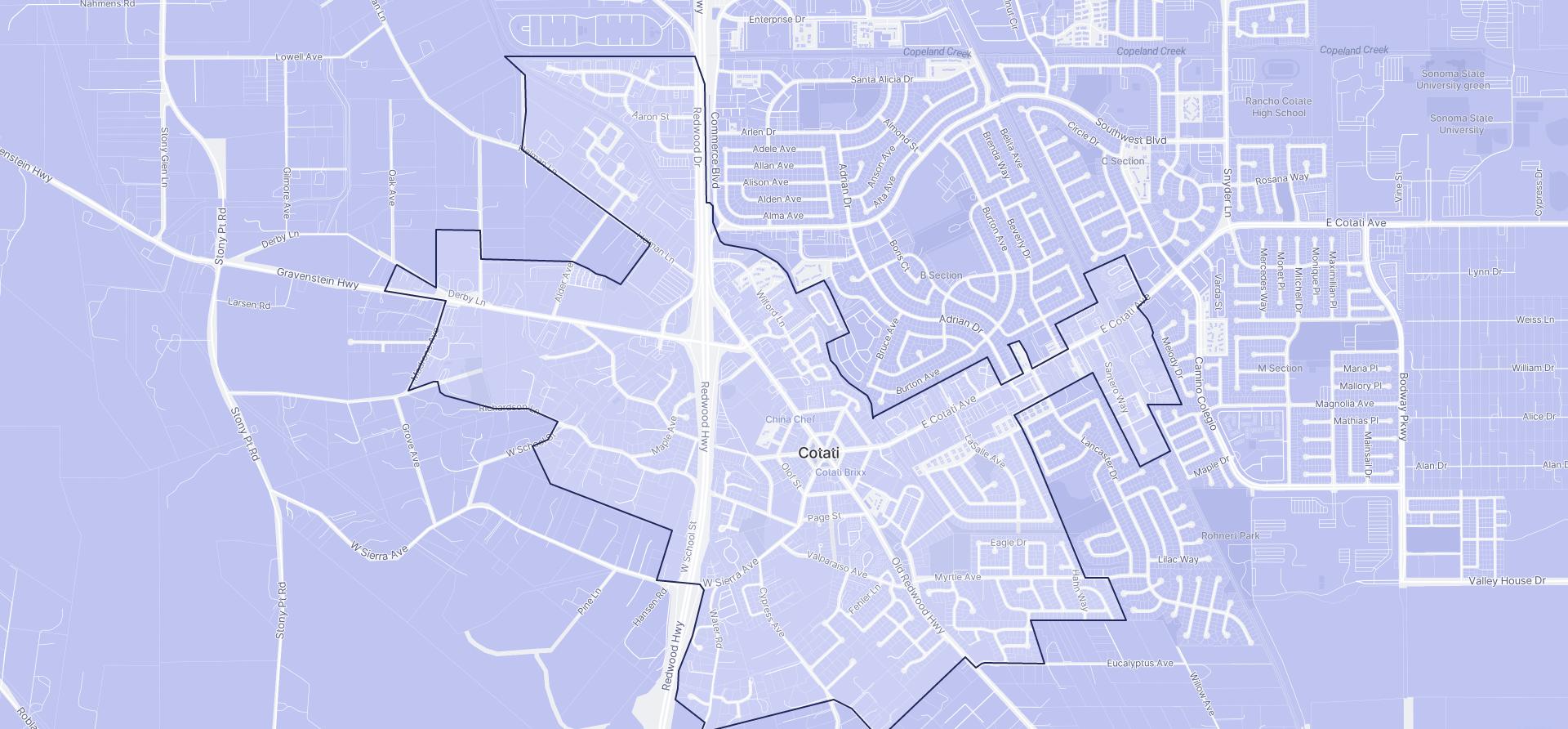 Image of Cotati boundaries on a map.