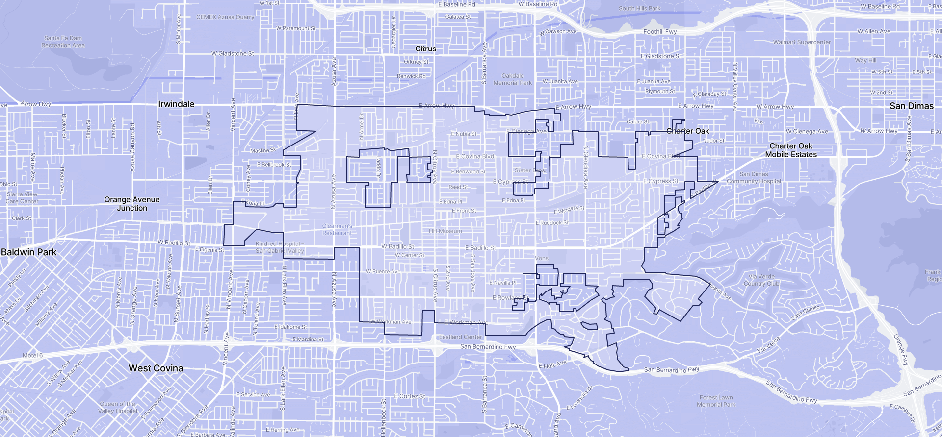 Image of Covina boundaries on a map.