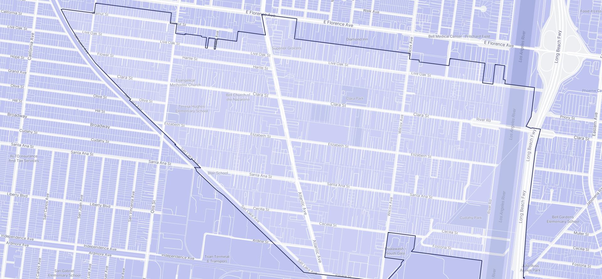Image of Cudahy boundaries on a map.