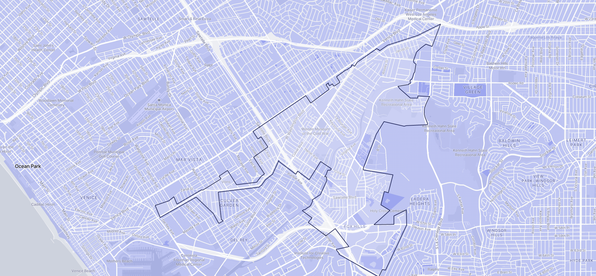 Image of Culver City boundaries on a map.