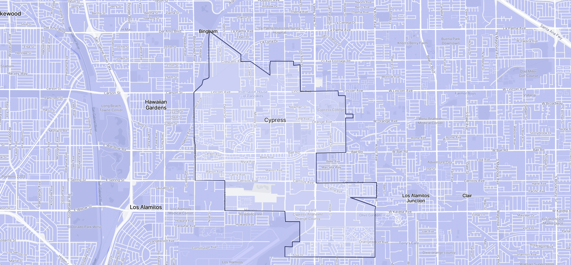Image of Cypress boundaries on a map.
