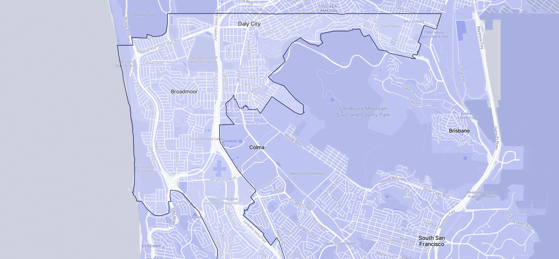 Image of Daly City boundaries on a map.