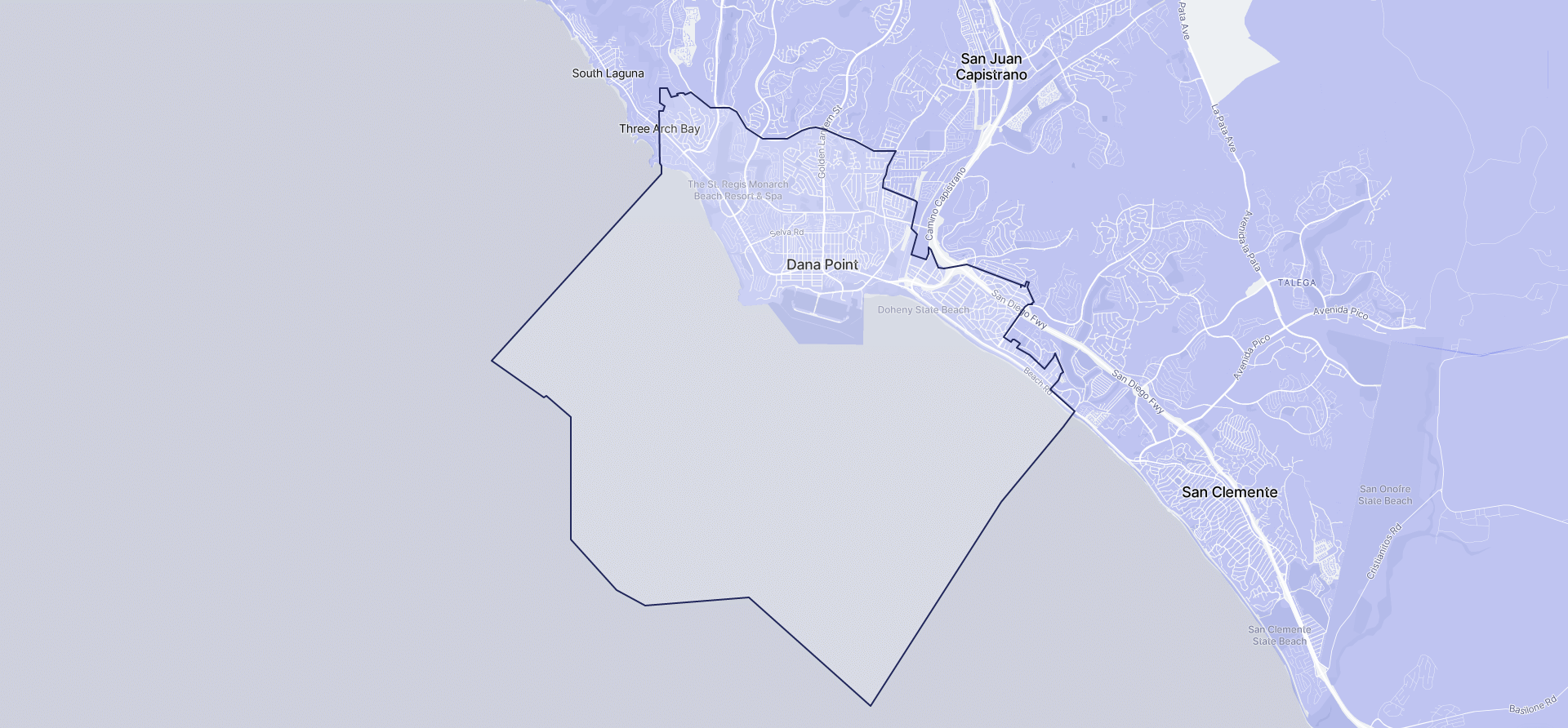 Image of Dana Point boundaries on a map.