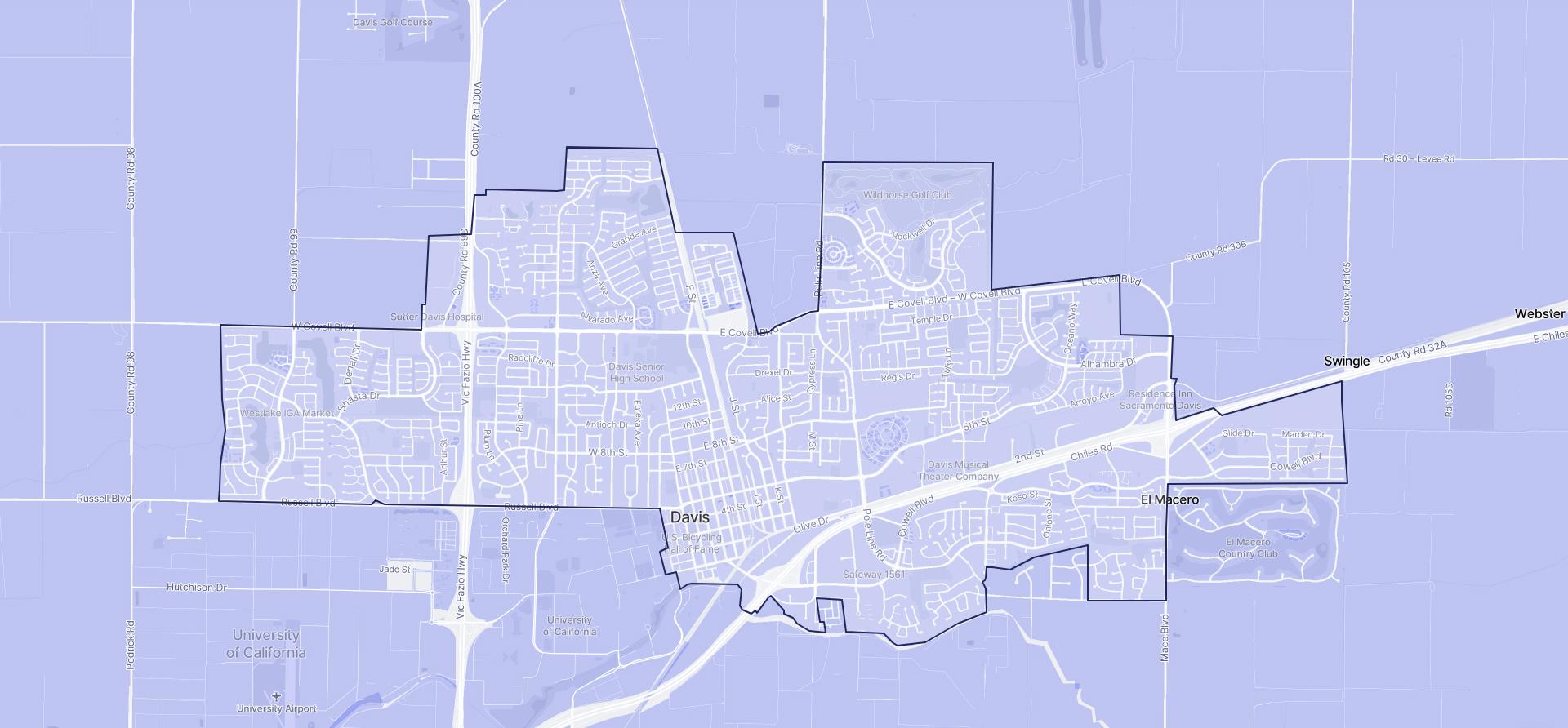 Image of Davis boundaries on a map.