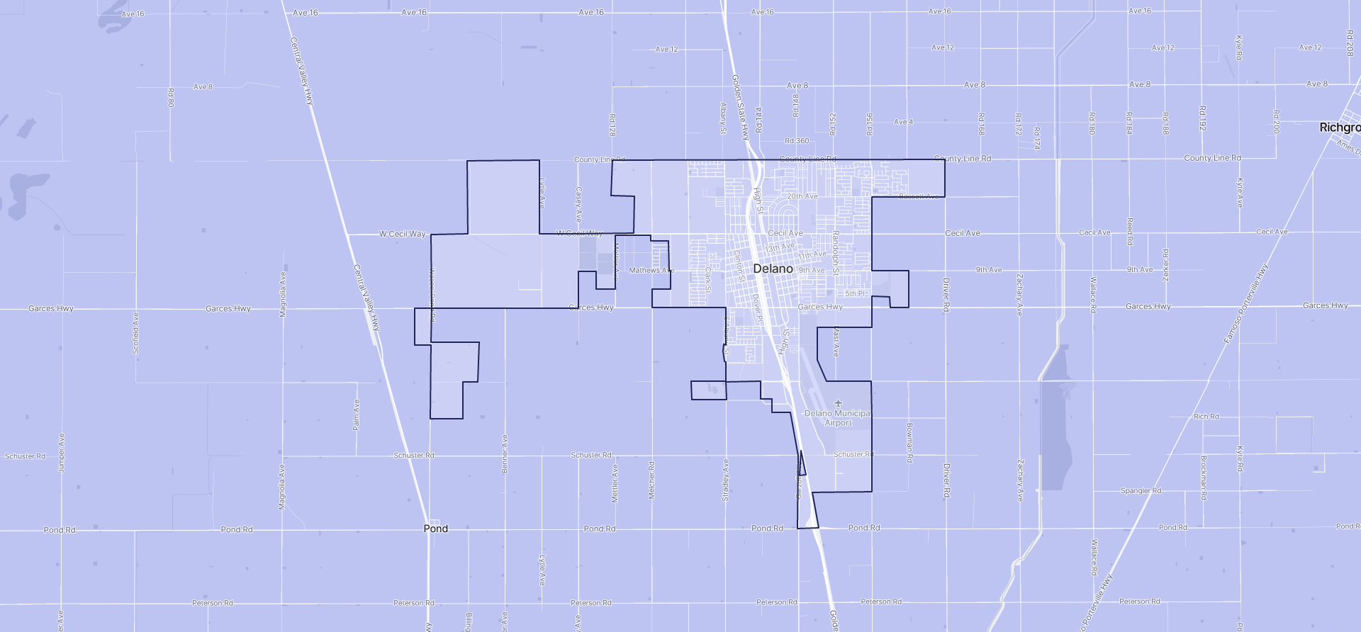 Image of Delano boundaries on a map.