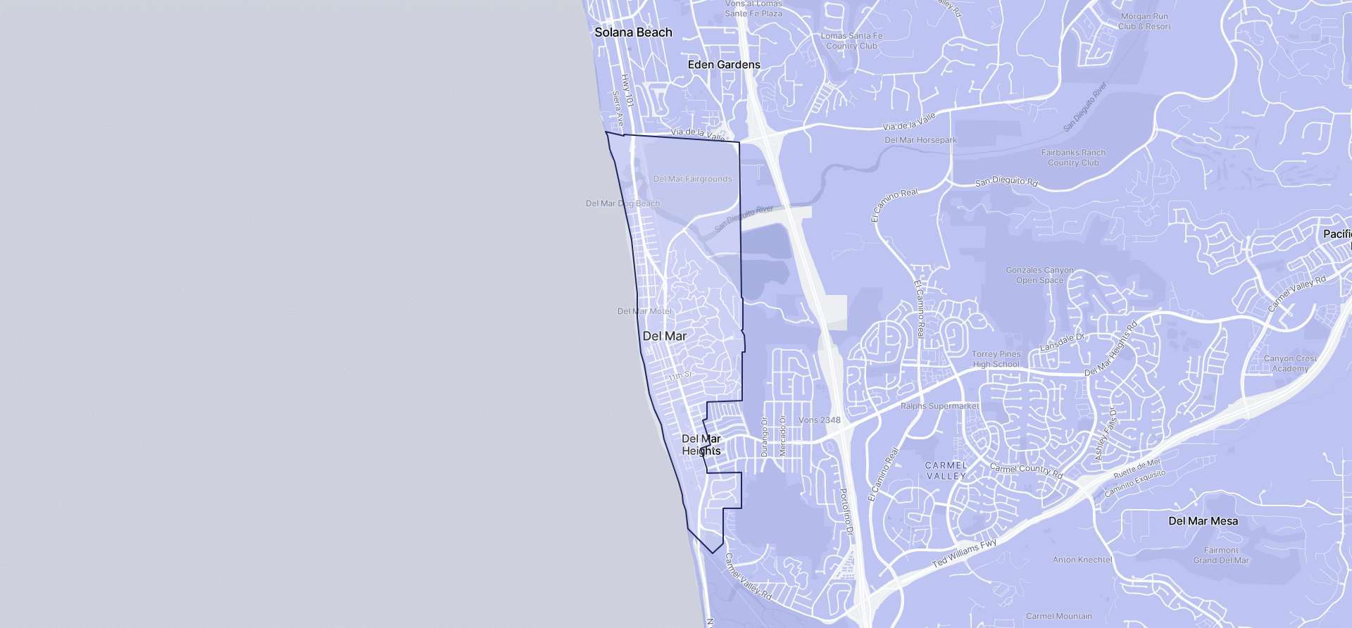 Image of Del Mar boundaries on a map.