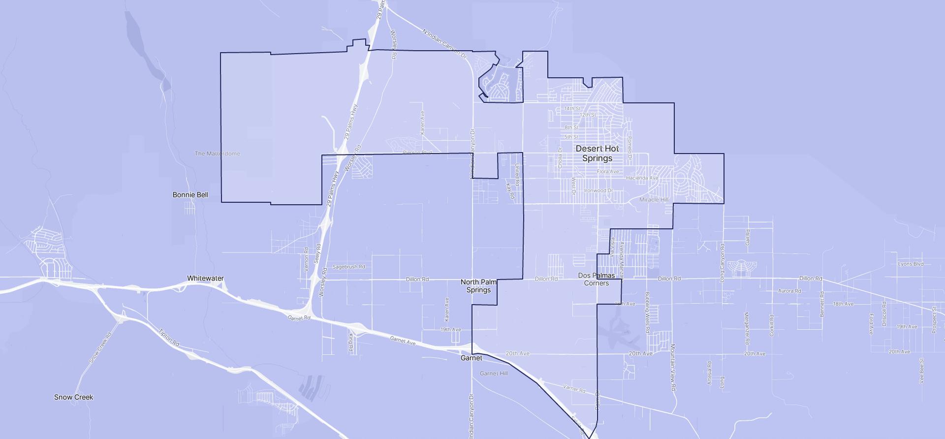 Image of Desert Hot Springs boundaries on a map.