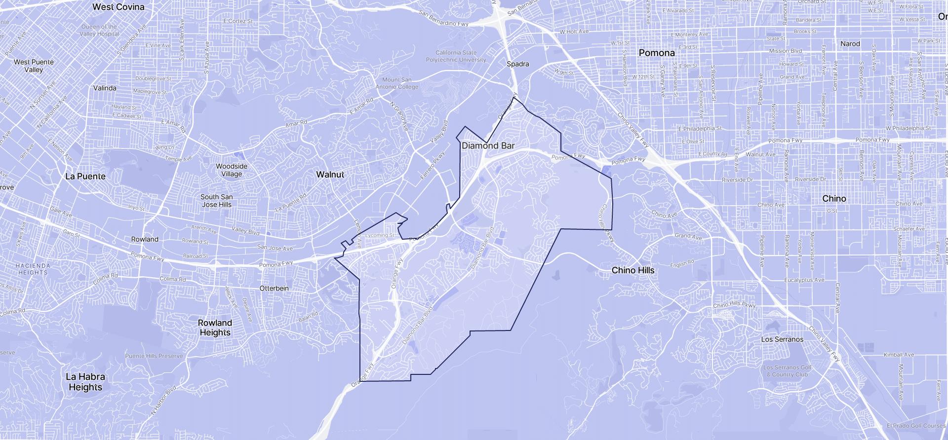 Image of Diamond Bar boundaries on a map.