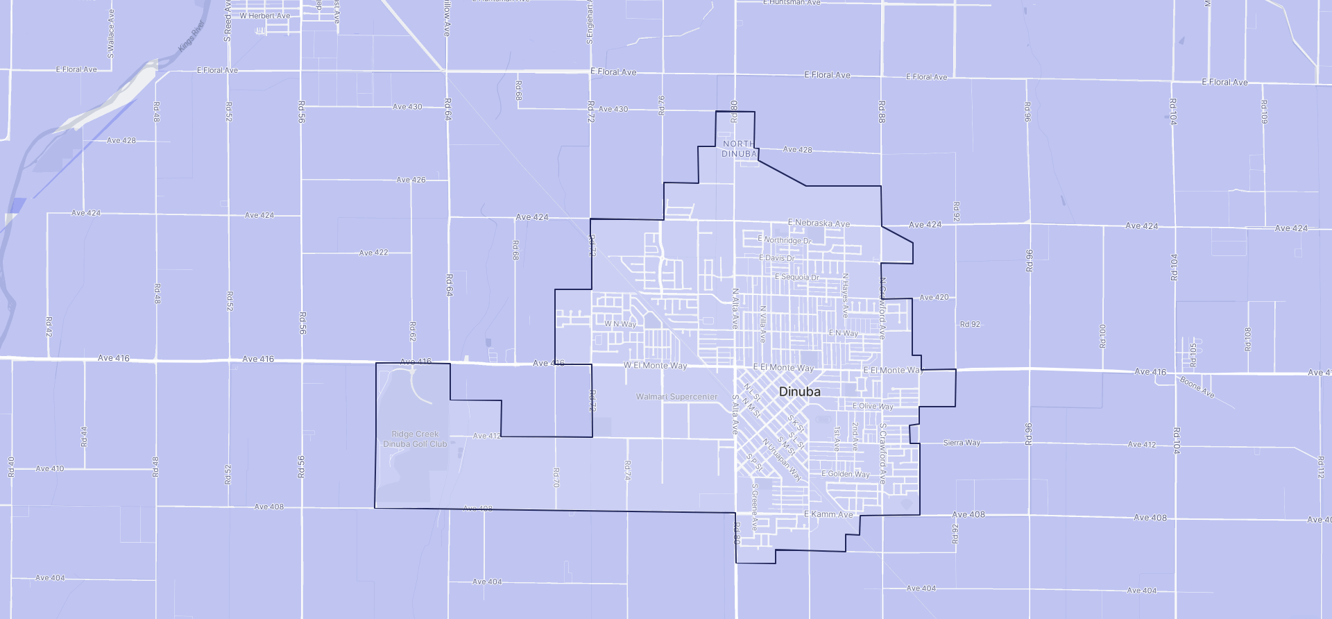 Image of Dinuba boundaries on a map.