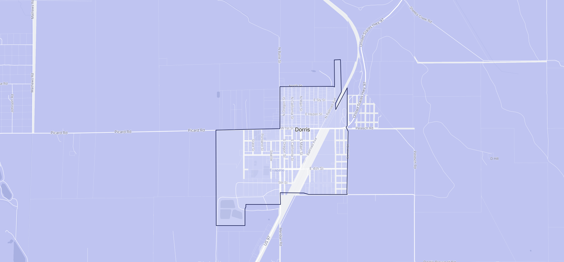 Image of Dorris boundaries on a map.