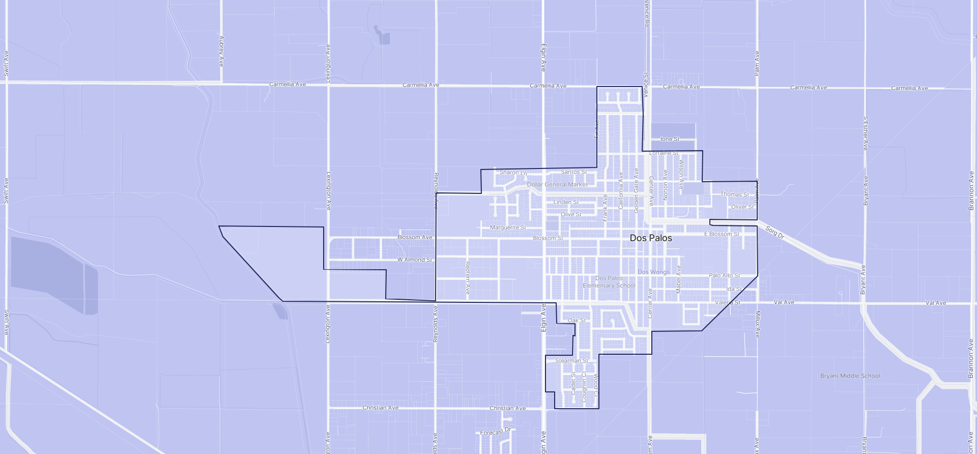 Image of Dos Palos boundaries on a map.
