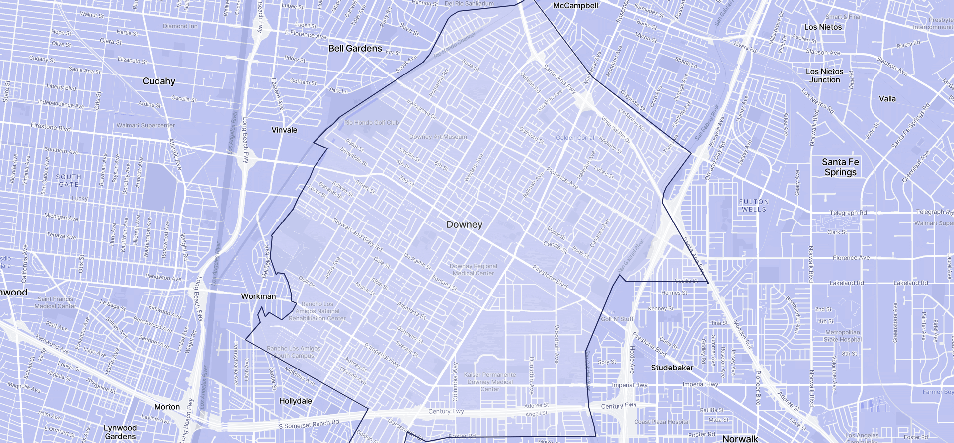 Image of Downey boundaries on a map.