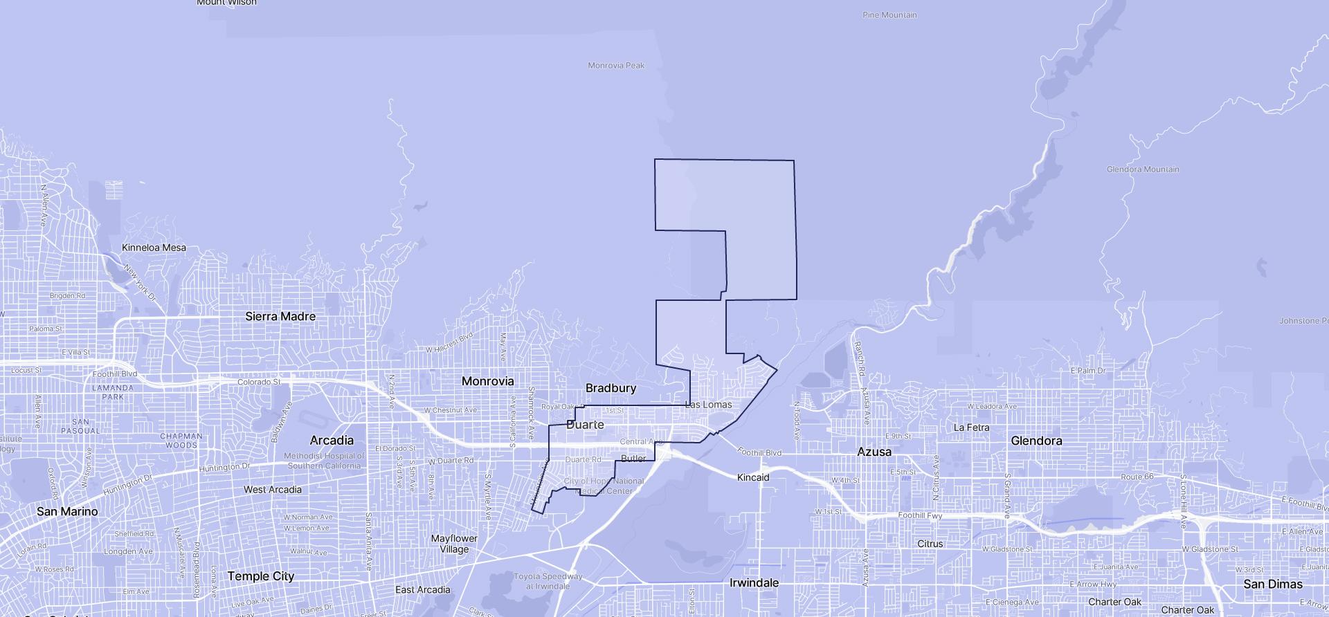 Image of Duarte boundaries on a map.
