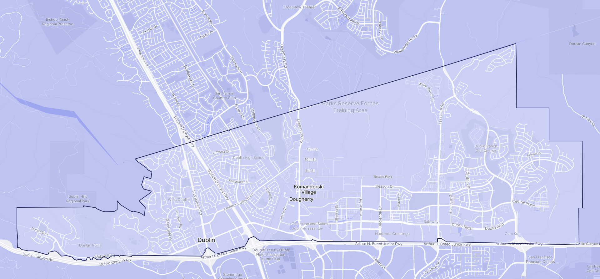 Image of Dublin boundaries on a map.