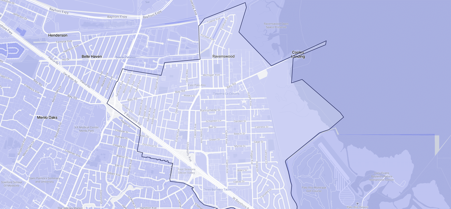 Image of East Palo Alto boundaries on a map.