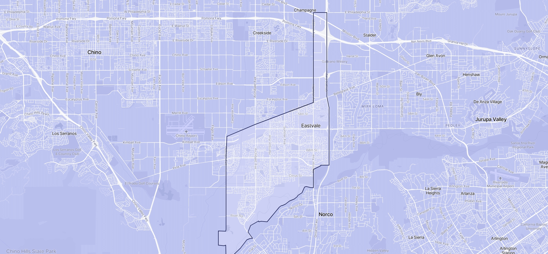 Image of Eastvale boundaries on a map.