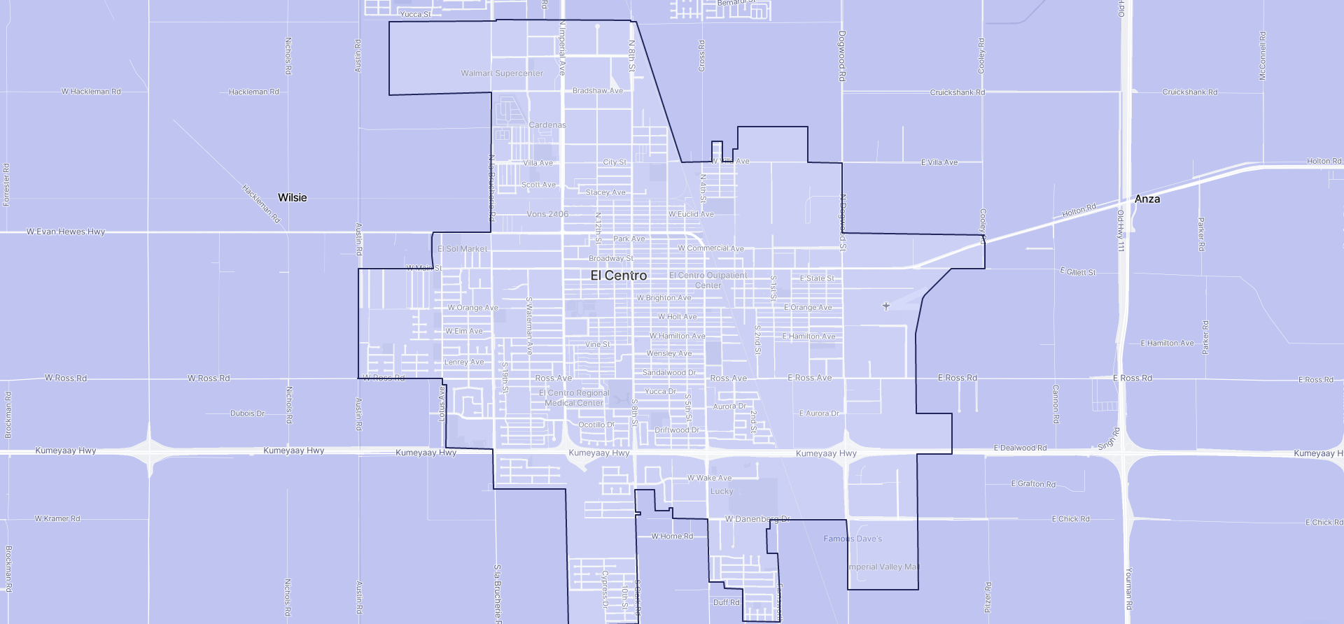 Image of El Centro boundaries on a map.
