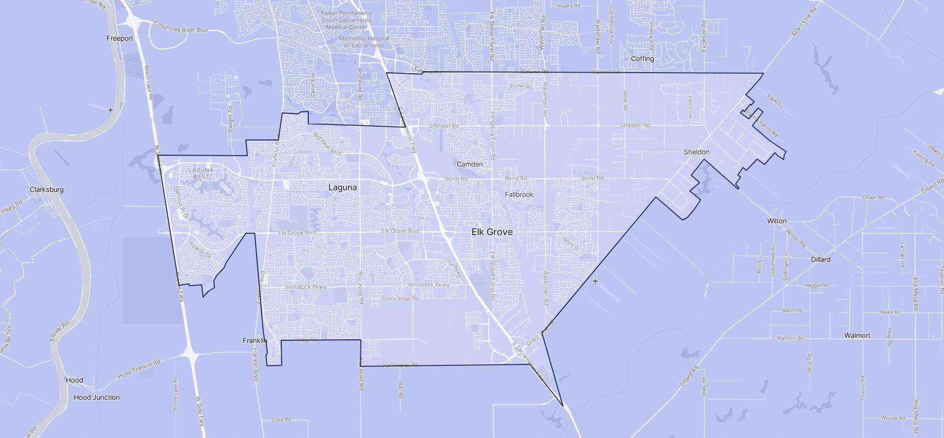 Image of Elk Grove boundaries on a map.