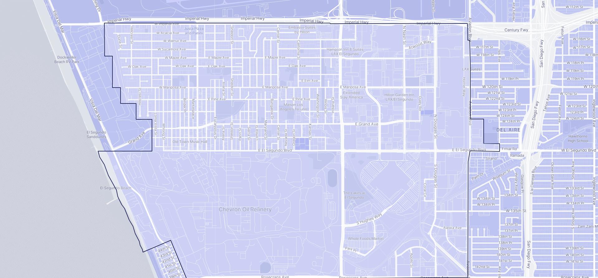 Image of El Segundo boundaries on a map.