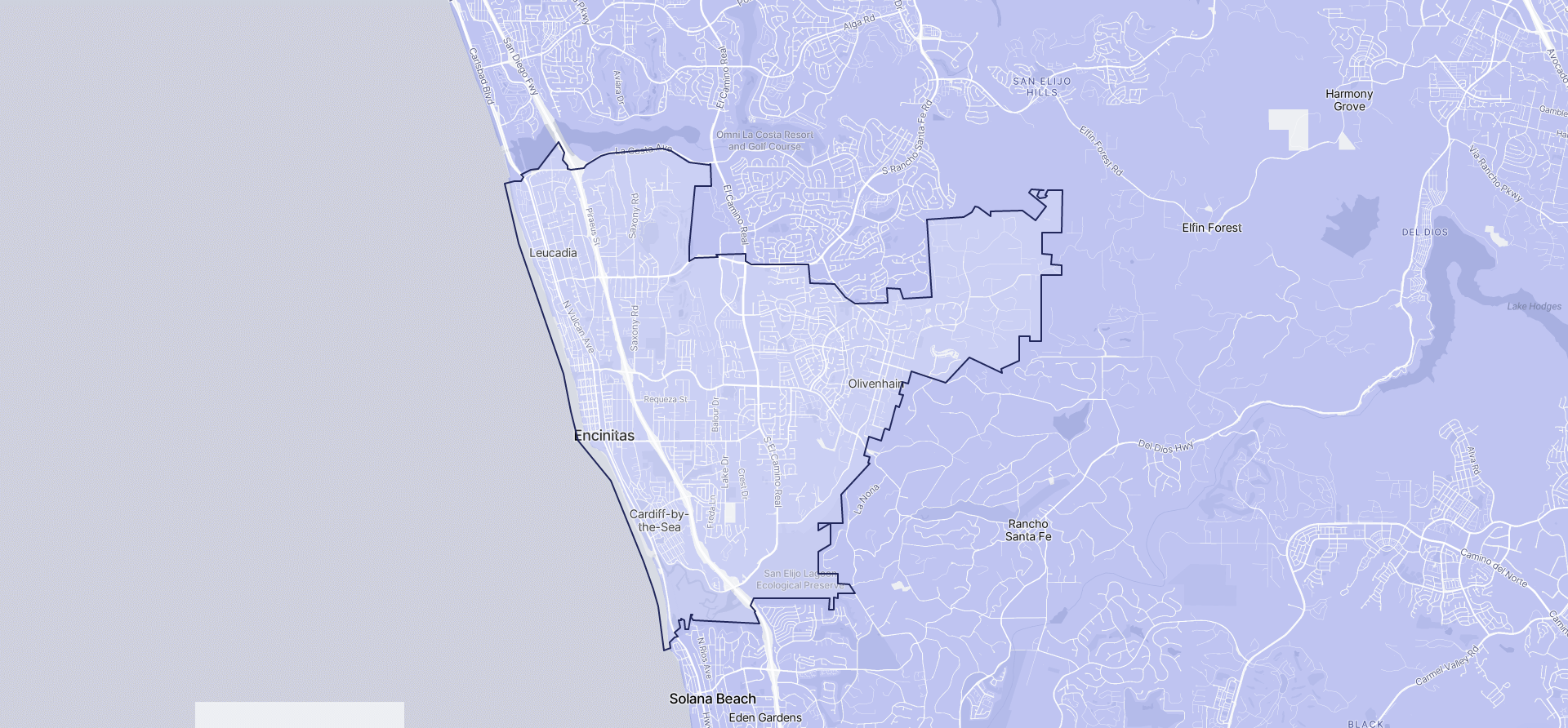 Image of Encinitas boundaries on a map.