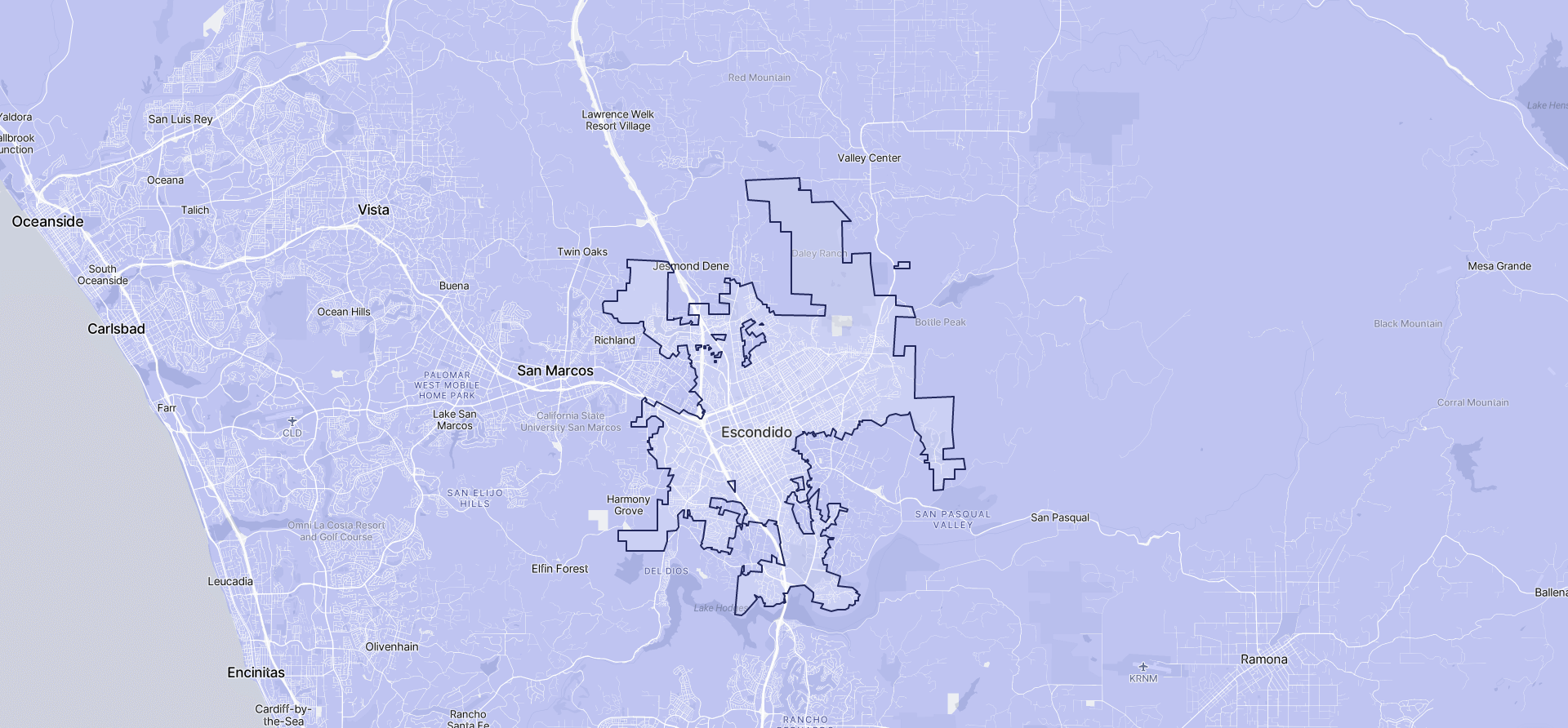 Image of Escondido boundaries on a map.