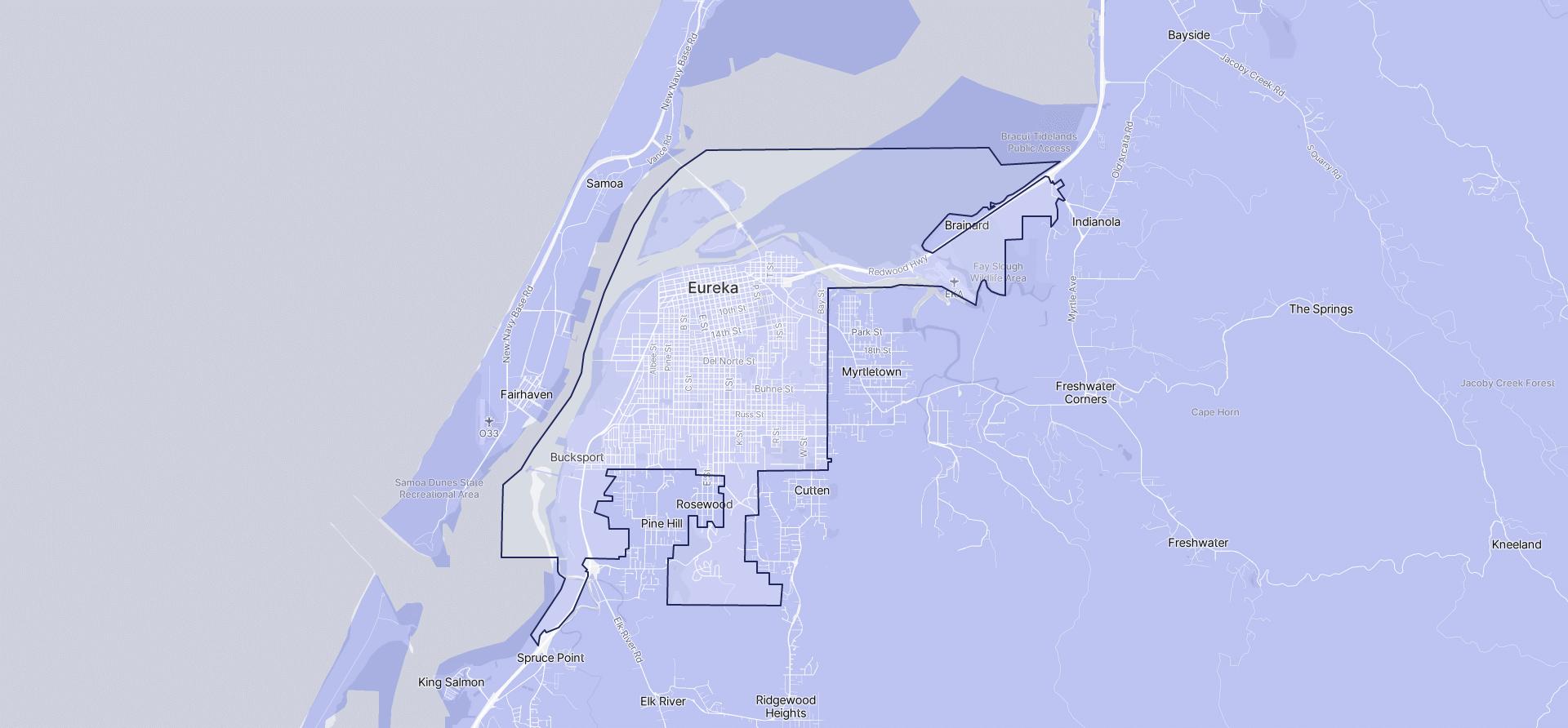 Image of Eureka boundaries on a map.