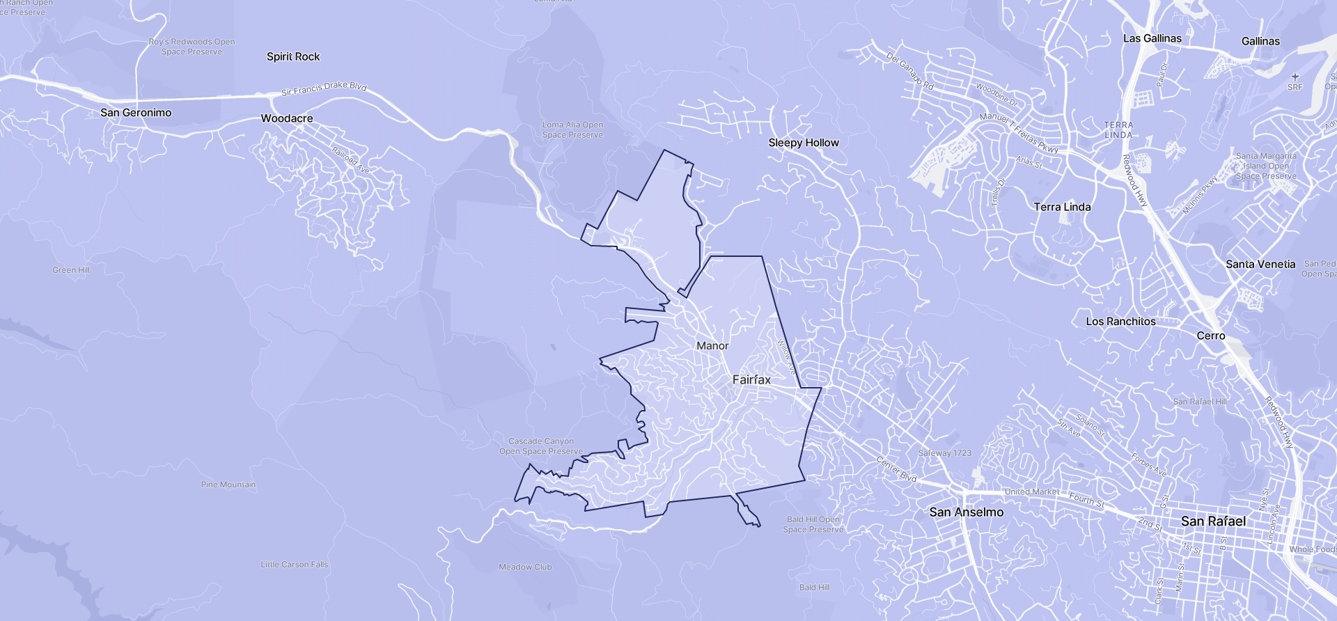 Image of Fairfax boundaries on a map.