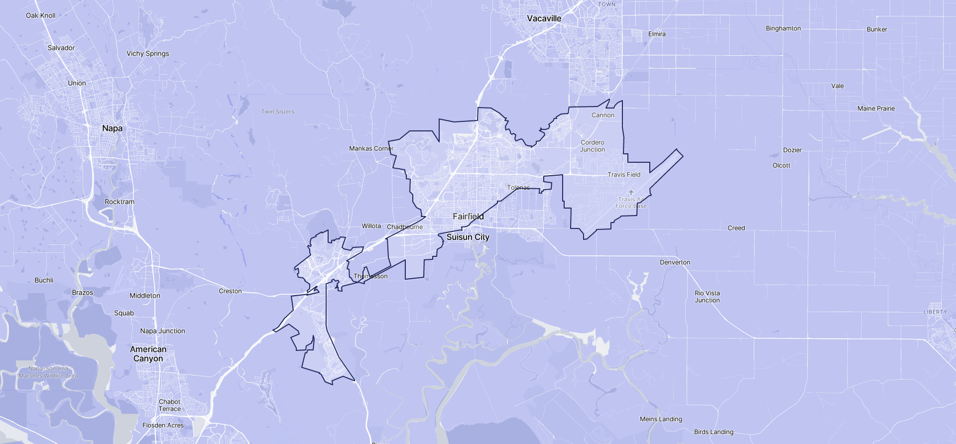 Image of Fairfield boundaries on a map.