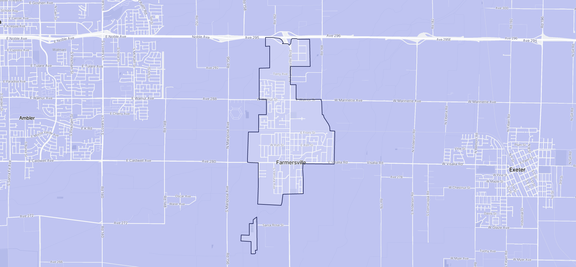 Image of Farmersville boundaries on a map.