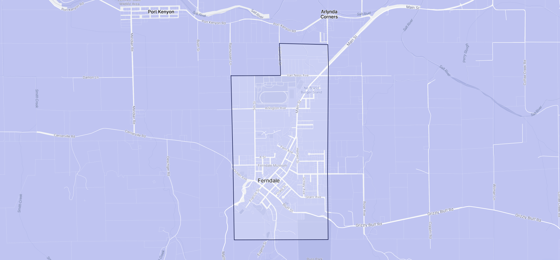 Image of Ferndale boundaries on a map.