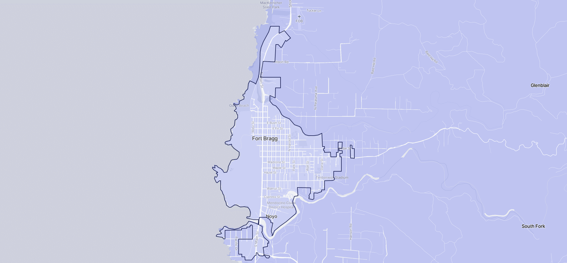 Image of Fort Bragg boundaries on a map.