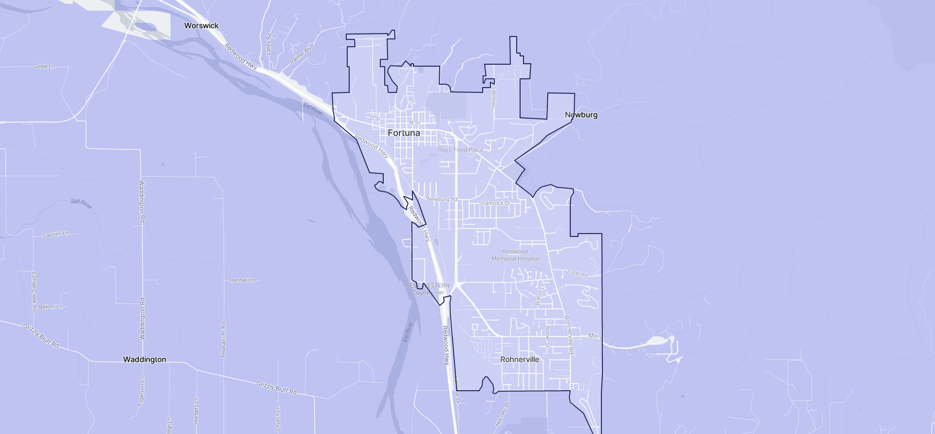 Image of Fortuna boundaries on a map.