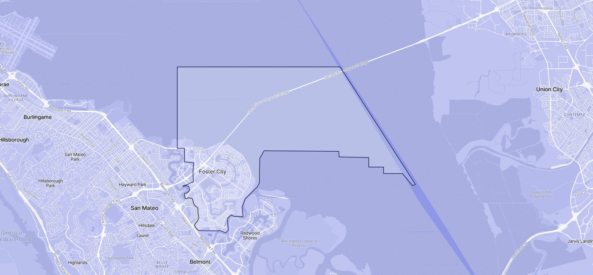 Image of Foster City boundaries on a map.