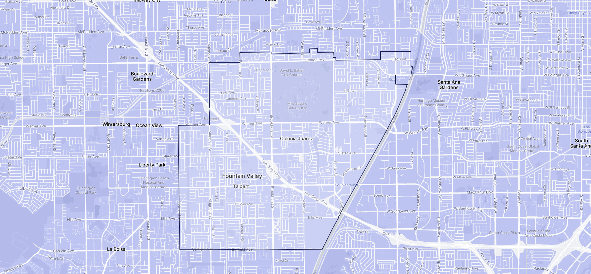 Image of Fountain Valley boundaries on a map.