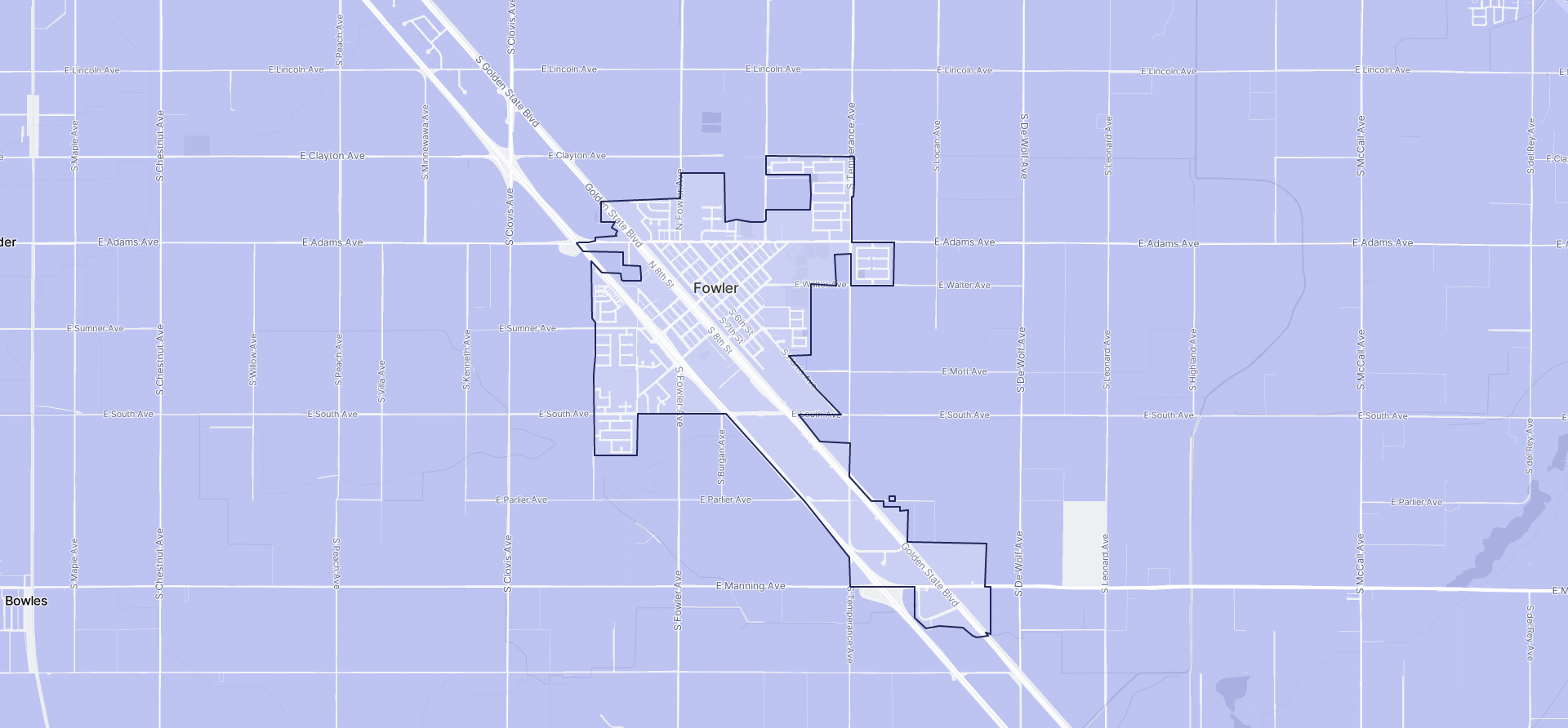 Image of Fowler boundaries on a map.