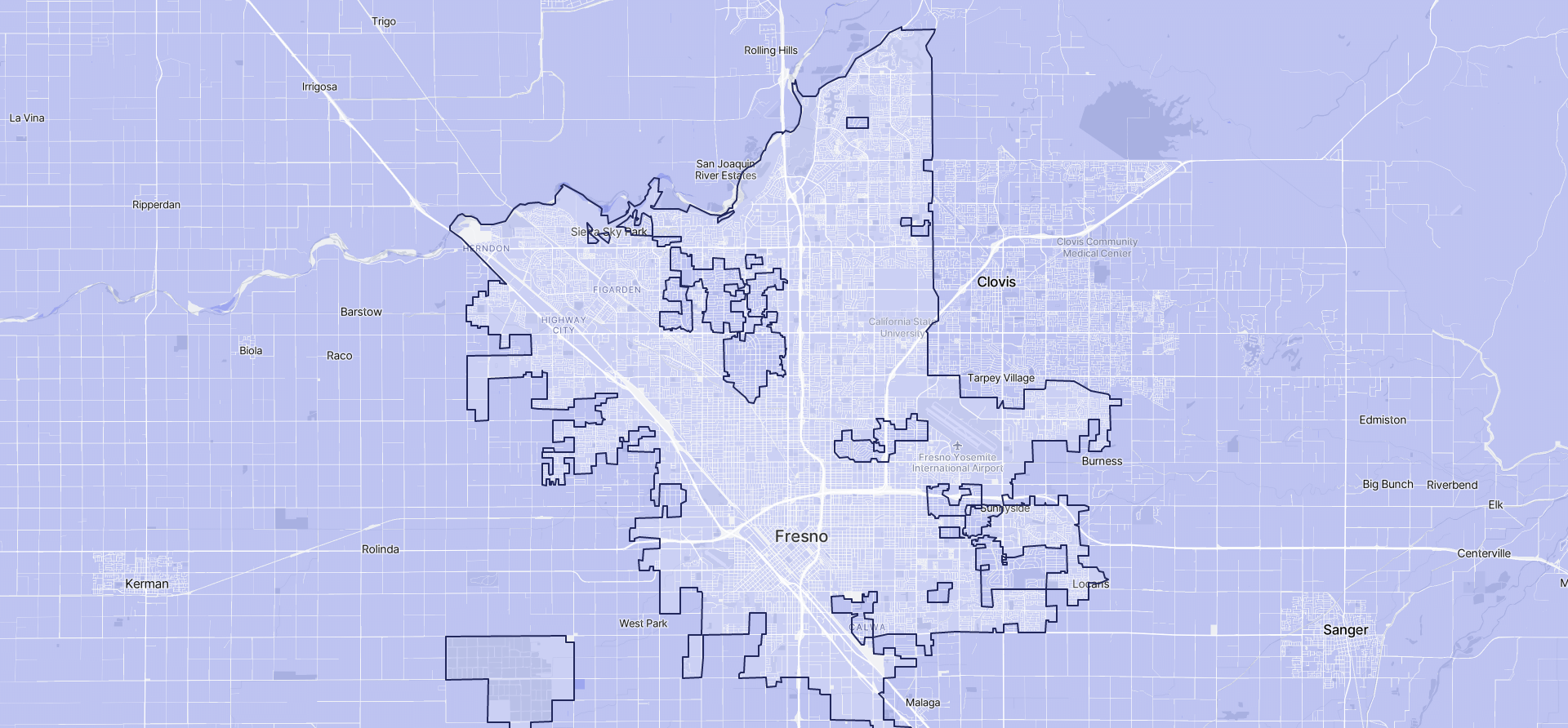 Image of Fresno boundaries on a map.