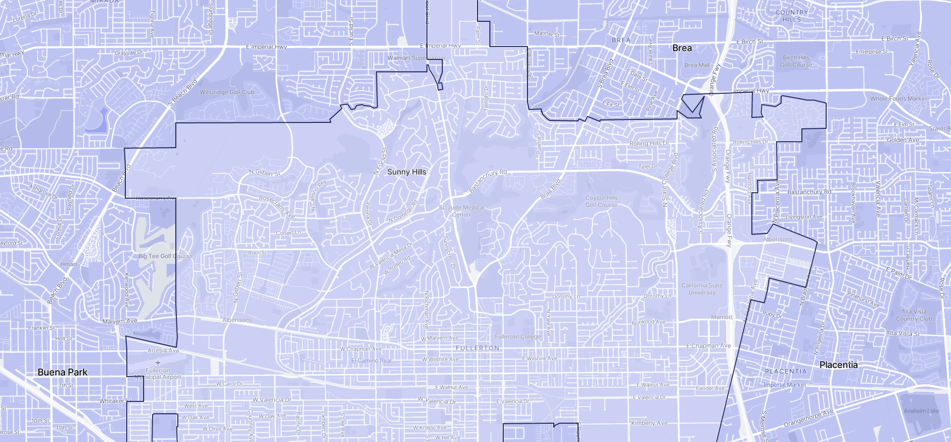 Image of Fullerton boundaries on a map.